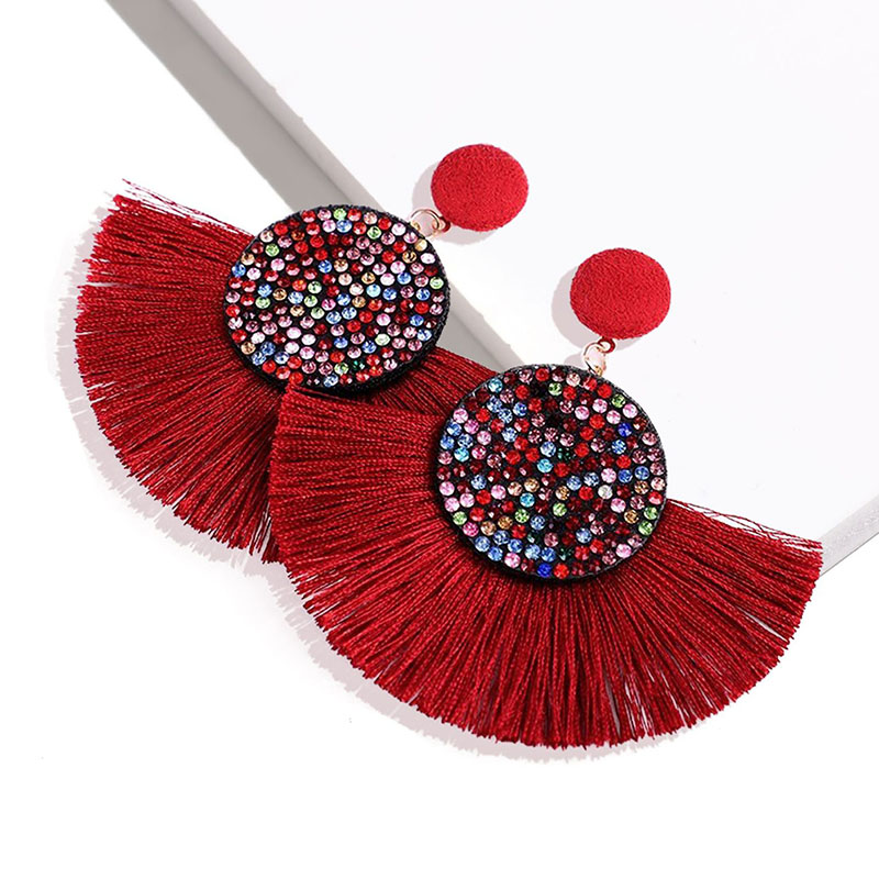 Boho Ethnic Exaggerated Big Tassel Earrings for Women Hot Drilling Colorful Rhinestone Statement Drop Fashion Jewelry