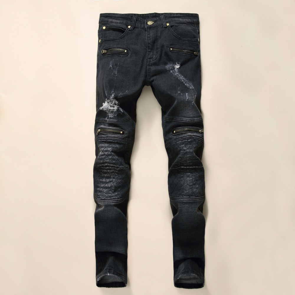 NEW Black Men Jeans High Quality Skinny Biker Motorcycle  Seretch Jeans Zipped Ripped Denim Slim Fit Hip Hop  hip hop Jeans skinny jeans men ripped jeans for men fashion casual slim fit biker jeans hip hop denim overalls men motorcycle jeans masculino