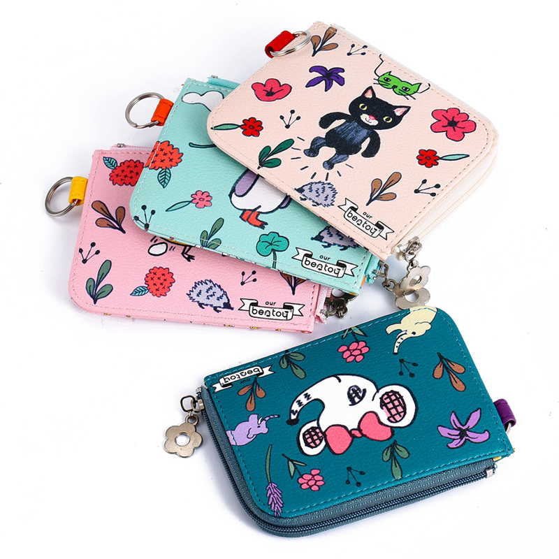 Cute Mini Women's Wallets Leather Cats Animal Pattern Purse Key Ring Coin Purse Handbags Gortmonee Girls Gift Bag Card Case
