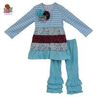 3 Flower Deco Baby Clothing Cotton Sleeve Dress Ruffle Pants Kids Boutique 2 PCS Sets New