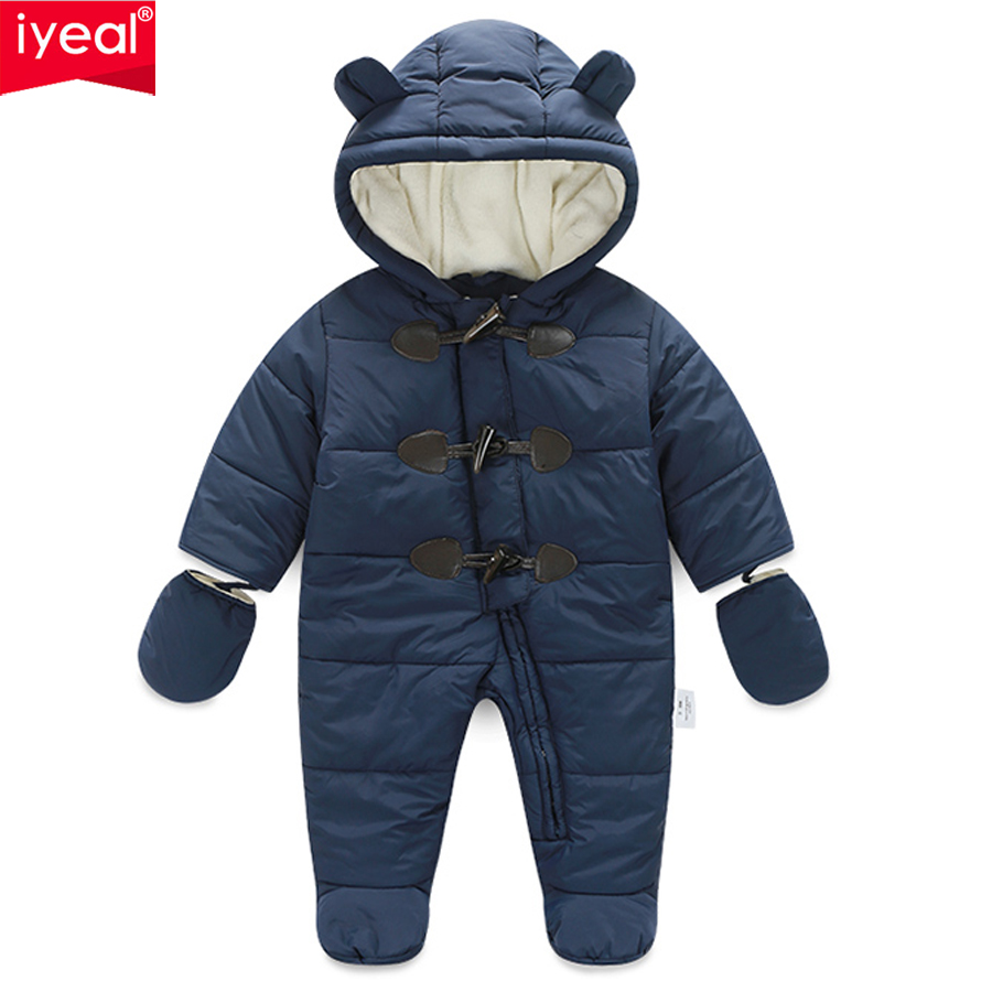 IYEAL Winter Children Baby Clothes Boys Girls Rompers Warm Thickening Hooded Infant Overalls for Newborn Clothing Kid Outwear unisex baby rompers cotton cartoon boys girls roupa infantil winter clothing newborn baby rompers overalls body for clothes