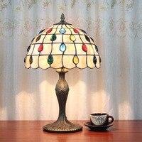 Eusolis 12 дюймовый Винтаж настольная лампа витражи, мозаика Стекло Desktop украшения свет хрустальный лампы Lamparas Para Dormitorio