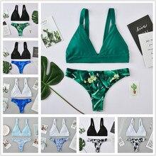 ECTIC 2019 Womens Bikini Suit Swimsuit Two-piece Bra Beachwear Female High Waist