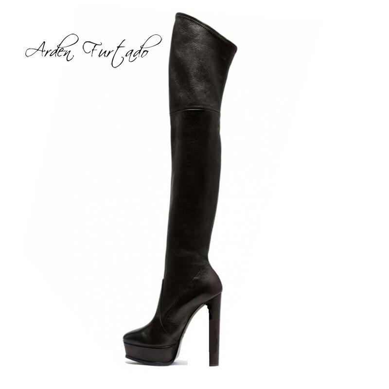 Arden Furtado 2019 frühling herbst über die knie high heels 14 cm plattform runde kappe oberschenkel hohe stiefel mode Stretch stiefel damen-in Überknie-Stiefel aus Schuhe bei  Gruppe 1