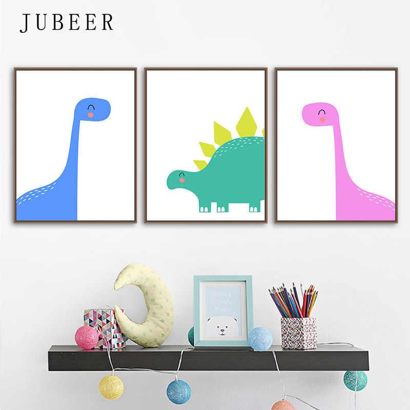 Set of 4 Dinosaur Prints watercolour prints nursery art boys bedroom painting