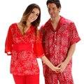 Mens Pyjamas Silk Satin Sleepwear Summer Couples Pajamas Set Rain Printed Silk Short-Sleeved Men's Fashion Grace Pyjamas