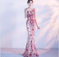 2018 New Double V neck Evening Dress Sexy vestido de festa Vintage Formal Dress Luxury Red Long Sequin Prom Gown Abendkleid T015