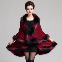 #2908 2016 Winter poncho Shawls and scarves Ponchos and capes Casaco feminino Cashmere scarf Fox Fur invierno Scarf luxury brand