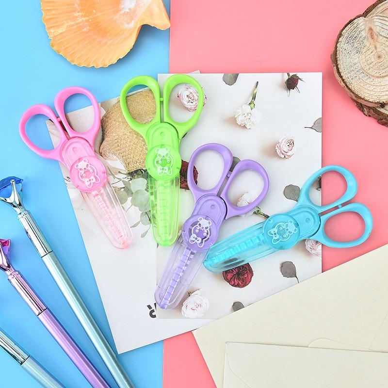 Kawaii Plastic Scissors For Paper Cutter Scrapbooking Kids Office School Supplies Korean Stationery Student