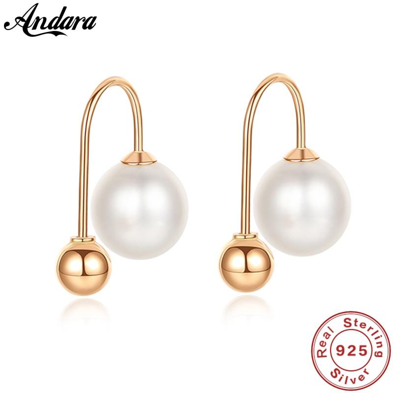Real 18K Yellow Gold Earrings 6.5 7mm Natural Freshwater Pearls Stud Earrings Women Luxury Gold Jewelry