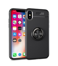 все цены на New 360 Rotating Finger Ring Case for iPhone XS Max Car Bracket Back Cover For iPhone X 5S SE i6 i7 i8 Plus TPU Soft Phone Case онлайн