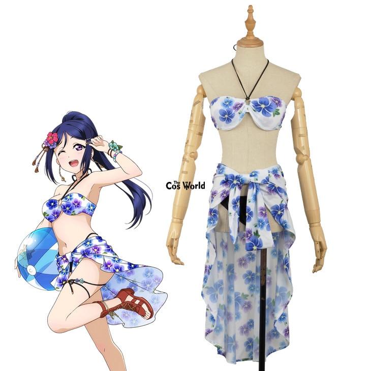 Love Live Sunshine Aqours Matsuura Kanan Swimwear Swimsuit Bathing Suit Bikini Tube Tops Skirts Outfit Anime Cosplay Costumes Home