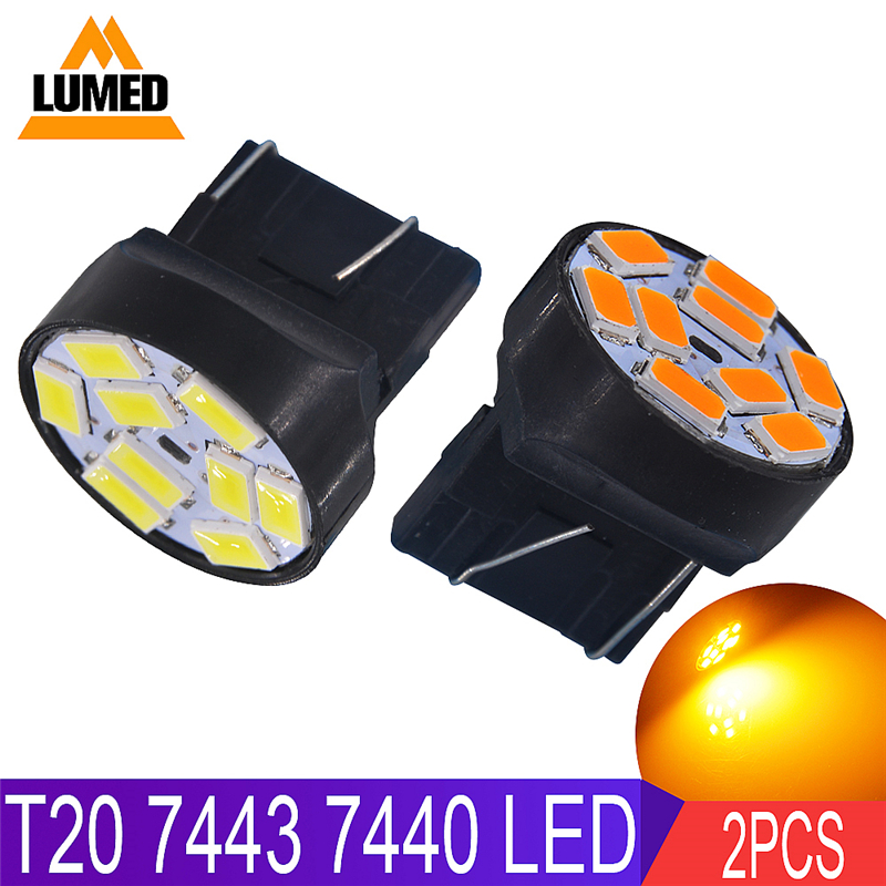2x 7440 7443 <font><b>LED</b></font> 5630 9 SMD Car lights <font><b>T20</b></font> <font><b>LEDs</b></font> Auto Brake Reverse Light Turn Signal Lamp White Amber <font><b>Red</b></font> DC 12V image