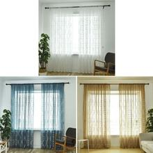Home Garden - Home Textile - Solid Retro Pattern semi-blackout curtains Embroidery Translucent Gauze Window Curtain Living Room Bedroom Home Decorations