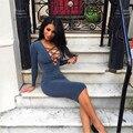 2017 Мода Bodycon Sexy Women's Dress Горячие Весна Лето С Длинным Рукавом Груди Ремень Глубокий V-образным Вырезом До Колен Тонкий Solid Color Dress