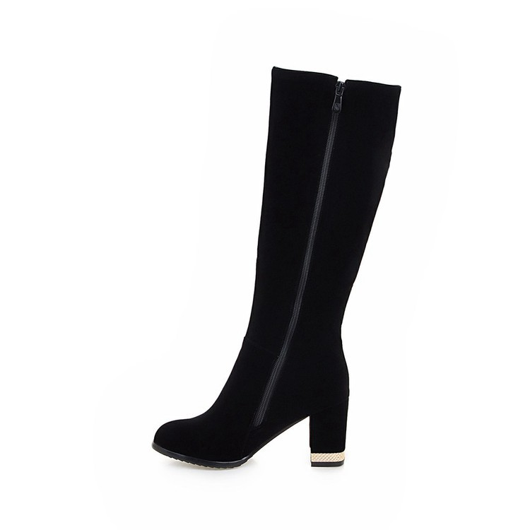 New Beaded Womens Large Size 40 High-heeled Suede Black Knee High Boots Autumn And Winter 7cm18