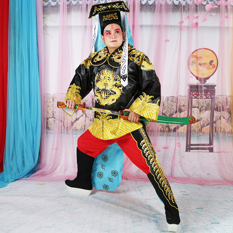 Peking Opera satin silk mandarin Jacket Pants Hat costume Song Dynasty yamen goverment clothing stage performance Outfit in Sets from Novelty Special Use