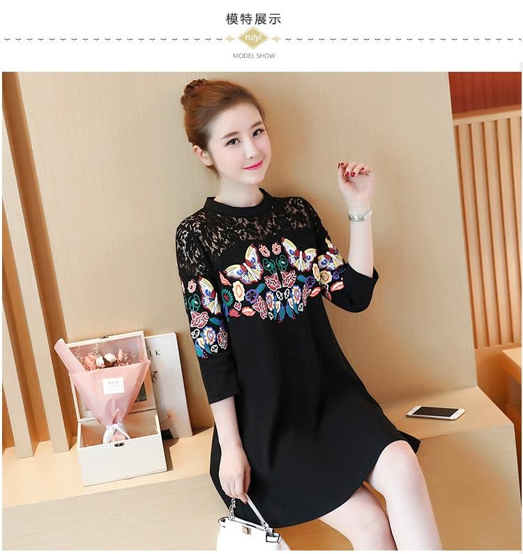 XXXXLPlus Size Summer Women Lace Dress Black Butterfly Print Sexy Vintage Party Beach Maxi Dresses 3/4 Sleeve O-neck Vestido 6