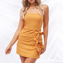 1a1e254cce Women Sexy Sleeveless Solid Boob Tube Top Dress Evening Party Stretch  Pencil Above Knee