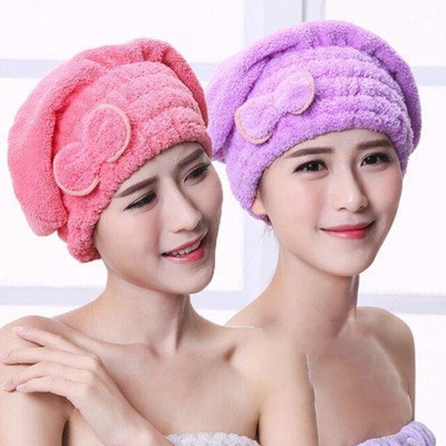 4 màu Sợi Nhỏ Rắn Một Cách Nhanh Chóng Khô Tóc Hat Womens Cô Gái Phụ Nữ Cap Phụ Kiện Phòng Tắm Khô Khăn Head Bọc Hat