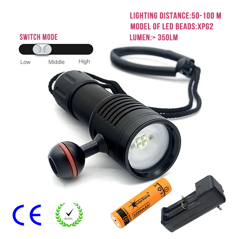 Portable LED Torch Light Diving Flashlight Scuba Photography Lamp Underwater Video 4 Led Flashlight With 18650 Battery portable waterproof diving led flashlight photography underwater video torch light