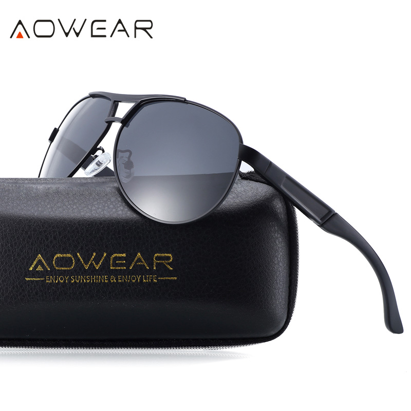 AOWEAR Brand Designer Men Sunglasses Polarized Mirror Coating Pilot Sun Glasses Man Driving Goggles Glasses with Case Oculos