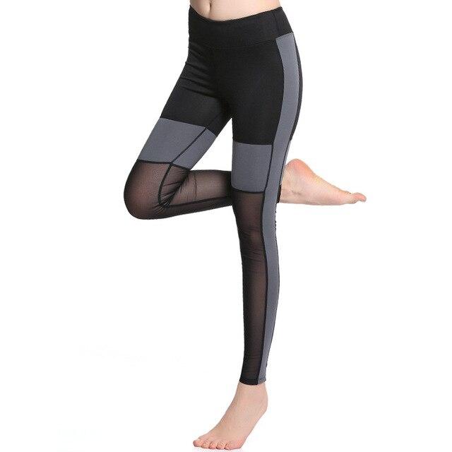 fcde65010bb5d KARYZON Mesh Panels Splice Running Tights Mid Waist Slim Fitting Pro  Leggings Stretchable Sport Trousers Ladies Pencil Pants