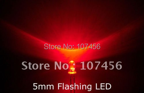 1000pcs lot 5mm flashing Red LED 5000mcd 5mm light emitting diode 5mm blinking red led water