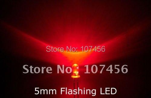 🛒 1000pcs/lot 5mm flashing Red LED(5000mcd) 5mm light