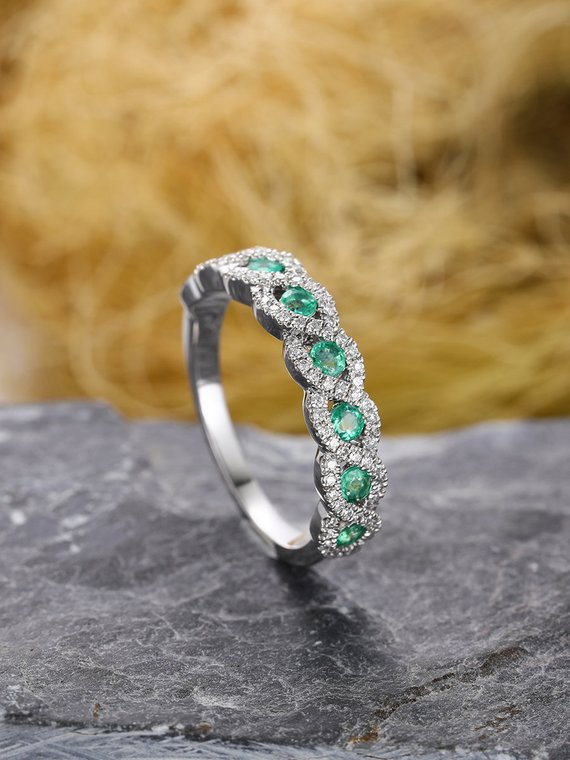 MYRAY Natural Genuine Emerald Diamond Wedding Band 14k White Gold Engagement Ring Bridal ...