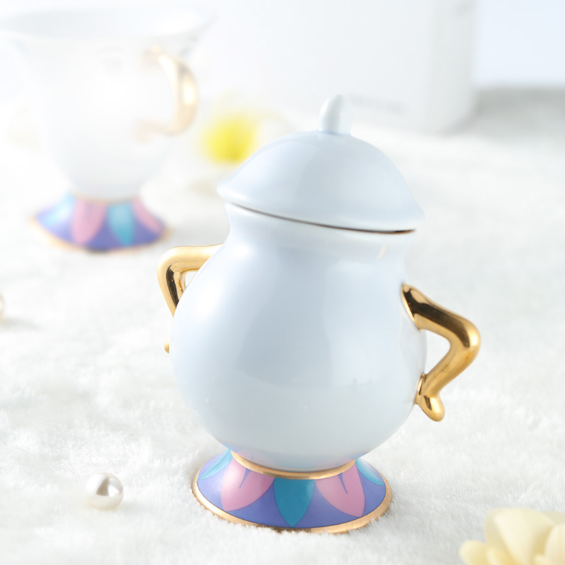 Cartoon Beauty And The Beast Coffee Set Sugar Bowl Pot Mrs Potts Chip Teapot Cup Creamer Set Lovely Xmas Birthday Gift Fast Post