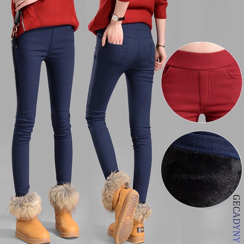 Vente chaude automne hiver femmes pantalon velours épaississement leggings pantalon femelle chaud crayon pantalon Épais élastique pantalon