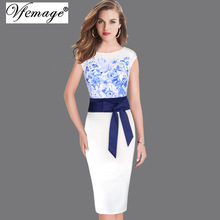 Women Elegant Floral Print Contrast Patchwork Belted Bowknot Tunic Work Business Casual Party Evening Bodycon Dress 6330