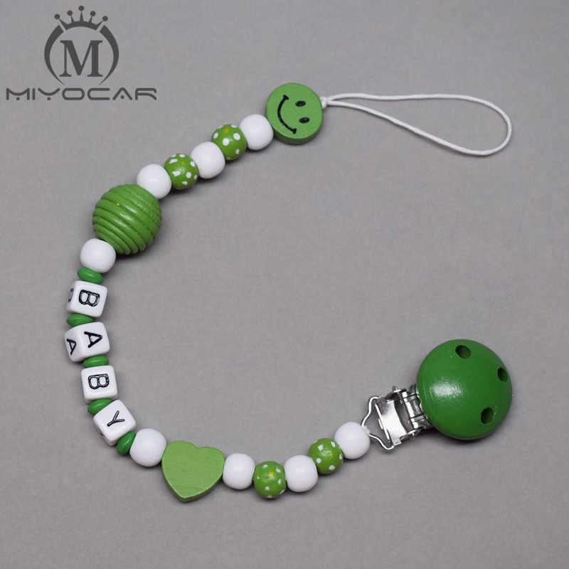 Personalizado-cualquier nombre hecho a mano sonrisa verde cuentas de madera portachupetes con pinza chupete clips para chupete clip mordedor de cadena