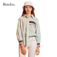 2019 Summer stripe shirts embroidery patch designs women
