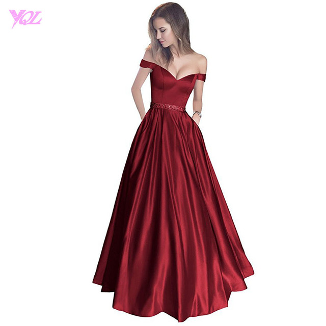 Wine Red Prom Dresses Long Off the Shoulder Evening Gown Boat Neck Satin  Zipper Back Party Dress Vestido De Festa 2497d72a2