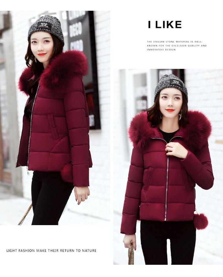Short Women Basic Jackets Streetwear Warm Casual Coats Female Parka Cotton Hooded Winter Women Jacket Coat Outwear 19 DR114 9