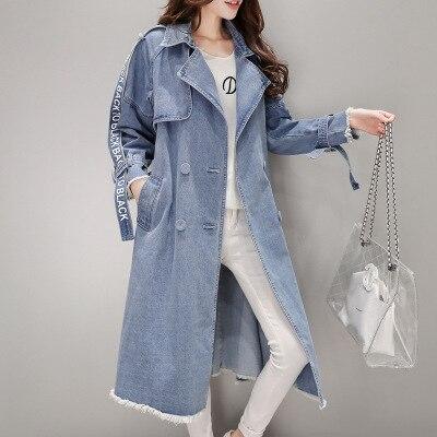 Survêtement Offre Nouvelle vent Spéciale Blue Femmes Veste Automne Lx163 Femelle Jean 2019 Breasted En Mode Blousons Printemps Double Longue Coupe rZBr4zg