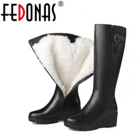FEDONAS Top Quality Women High Heeled Genuine Leather Boots Thick Wool Winter Warm Martin Snow Boots