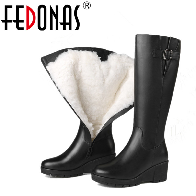 FEDONAS  Women High-heeled Genuine Leather Winter Boots Thick Wool Warm Martin Boots High-Quality Female Wedges Heels Snow Boots цены онлайн