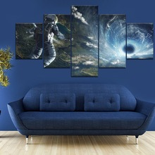 5 Piece HD Print Large Poster Astronaut Space Black Hole Cuadros Paintings on Canvas Wall Art for Home Decorations Decor