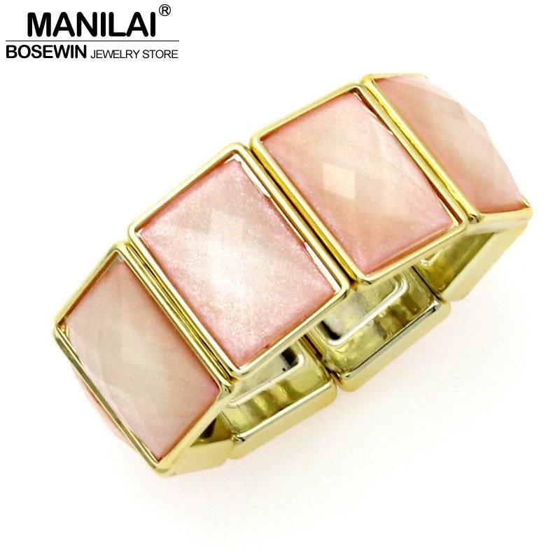 MANILAI Gorgeous Fashion Acrylic Wide Shining Resin Elastic Strand Women Bangles & Bracelets Statement Jewelry BL190