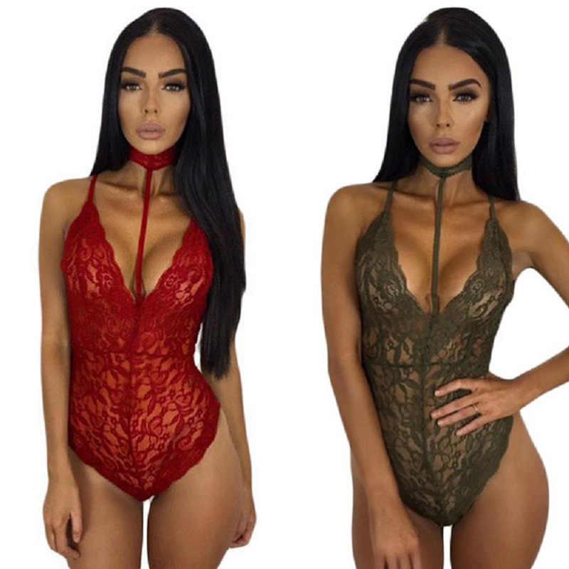df83b3d5e7 ... SEBOWEL Sexy Black Floral Lace Bodysuit Women Choker Neck See Through  Skinny Body Jumpsuit Romper Combinaison ...