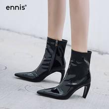 2b5c49a31f ENNIS 2018 Estilo Couro de Patente Das Mulheres Botas de Inverno Ankle  Boots De Salto Alto Moda Botas Dedo Apontado Couro Genuín.