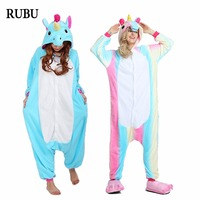 Onesie New Rainbow Unicorn Unisex Flannel Pajamas Adult Cosplay Costumes Cartoon Animal Kigurumi Sleepwear Hoodie For