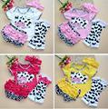 Newborn Infant Baby Girl Clothes Kids Ropa de Bebe Cow T-shirt Headband+Top+Leg Warmers+Shorts Bloomers Pants Clothing Set
