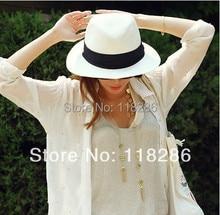 Fedoras fashion jazz hat female summer white straw braid fedoras roll up hem flat brim wide brim strawhat