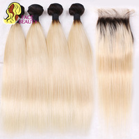 Facebeauty 4 Bundles with Lace Closure 1B 613 Ombre Blonde Dark Roots Remy Brazilian Straight Human Hair Bundles with Closure