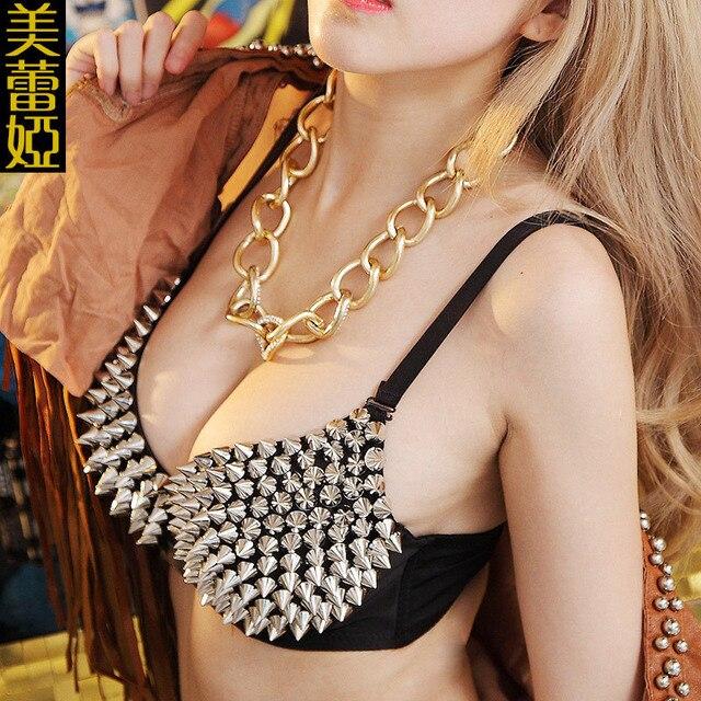 sexy rivet golden silver bra dancer bras costumes female singer DS nightclub stage clothing stage bar nightclub dance gemstone