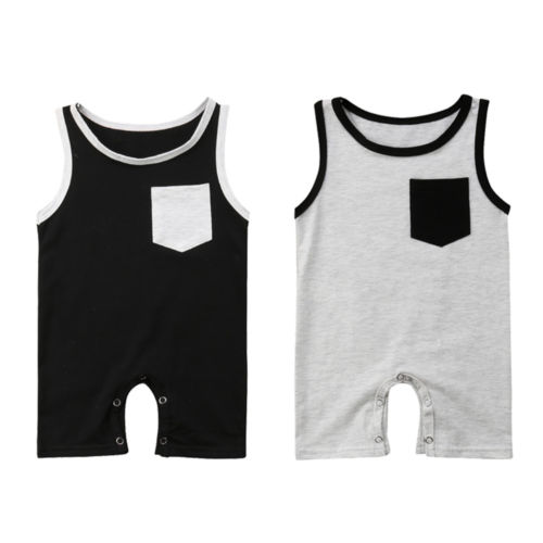 2018 Cute Infant Kids Baby Girl Boy Clothes Sleeveless Pocket   Romper   Jumpsuit Cotton Outfits Clothes Summer 0-24M
